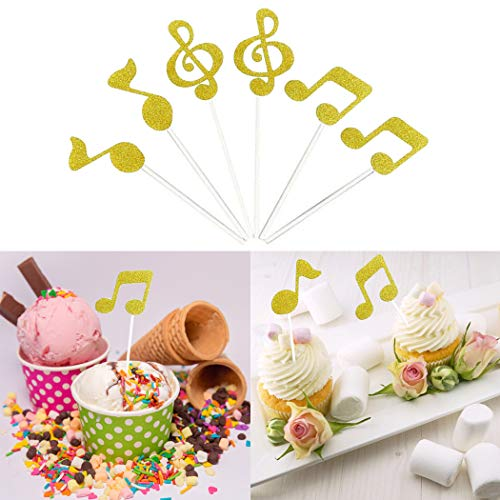 Cake Topper, FunPa 30PCS Cupcake Topper Music Notes Moldes Comida Selección de cupcake Pick Party Decor Topper Fruit Cocktail Toothpicks