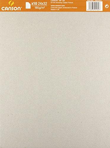Canson 400015601 - Bolsa de 10 hojas cartulina (185 g, 24x32 cm) colores surtidos