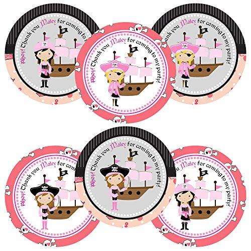 Chica pirata gracias pegatinas para fiesta de cumpleaños - Sellos de sobres para niños y etiquetas de favor - Juego de 30