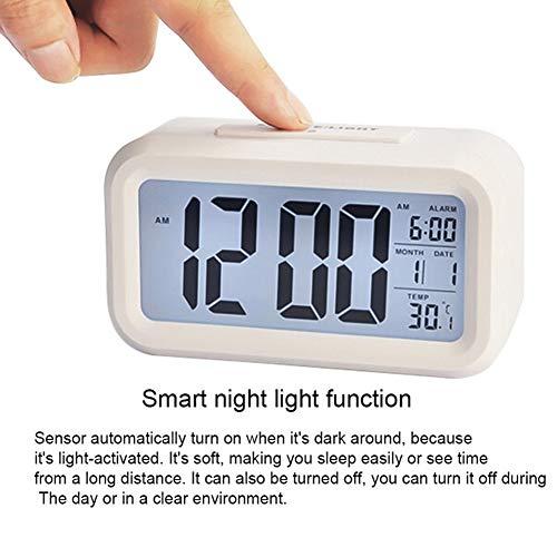 CHYE LED Digital Despertador, Reloj Despertador Digital Pantalla Grande con el Calendario de Viaje del Ministerio del Interior Tabla Snooze electrónico Niños Reloj LED,B