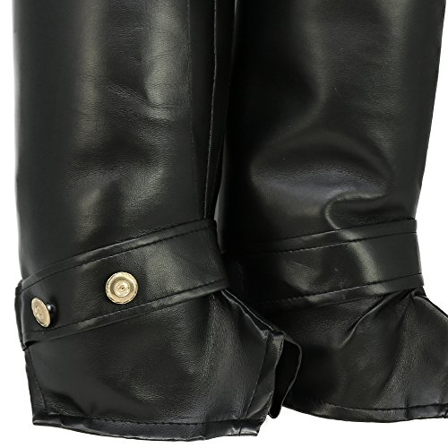 com-four® Leggings de Bota en Piel sintética Negra, Cubiertas de Bota para Carnaval, Carnaval, Halloween y Fiestas temáticas, Talla única, 60 cm (Botines - 1 par)
