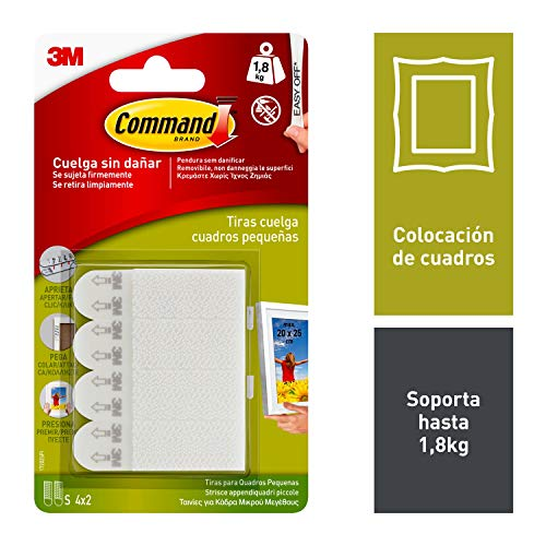 Command 17202, Tiras para Colgar Cuadros, Blanco, Pequeñas, (hasta 1,8 kg)