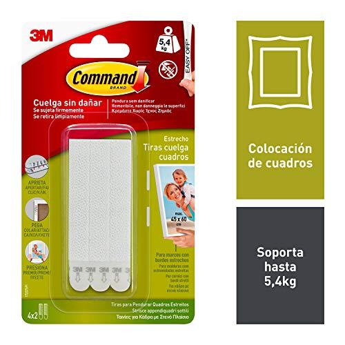 Command 17207 - Pack de 8 tiras para cuadros con marco (estrecho, hasta 5,4 kg), Blanco