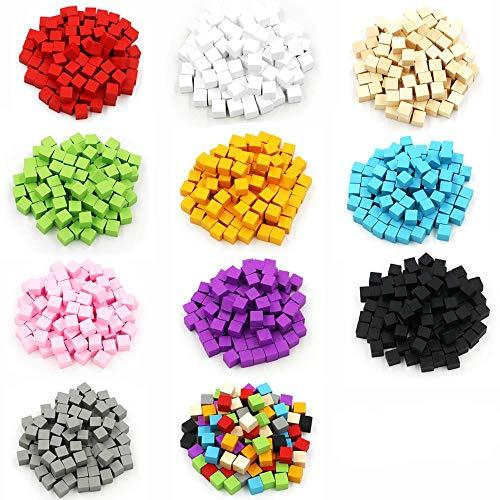 COMPY 1000pcs Cubos de Madera Bloques Dados en Blanco 10mm Esquina Cuadrada Color Juego de Mesa Dados Educación temprana, Rosa