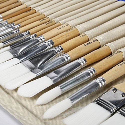 Conda – Conjunto 24 Pinceles Profesionales con Funda de Lona Resistente, Pintura Acrílica, Pintura a Base De Óleo o Acuarelas