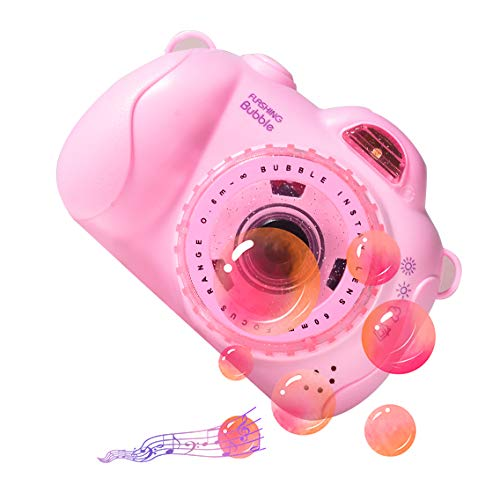Correa de Cámara Juguete Burbujas Jardin para Uso en Interiores O Exteriores Máquina de Burbujas Portátil con Música Ligera Máquina de Pompas de Jabón,Pink b
