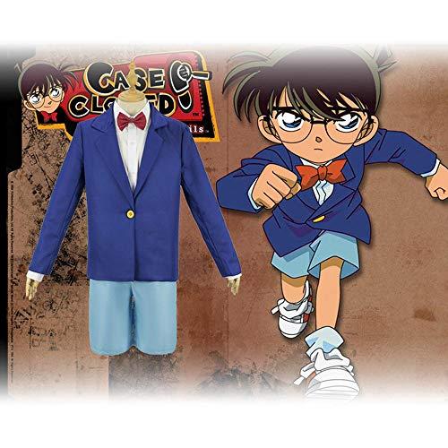 Cosplay Ropa Anime Detective Conan Cosplay del Traje De Conan Edogawa Full Set Fiesta De Carnaval De Halloween para El Adulto/Niño De Desgaste Blue-S