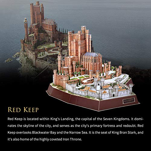 CubicFun Game of Thrones Puzzle 3D The Red Keep (Got) Modelo Kit Regalo para Adultos y niños Mayores de 8 años, Song of Ice and Fire, 314 Piezas