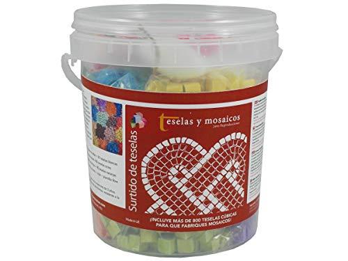 Cubo 800 teselas cúbicas 9 colores surtidos + cola + plantilla libre
