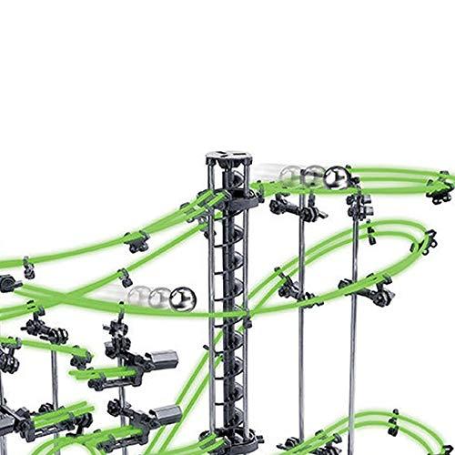 CX TECH Pacerail Resplandor en la montaña Rusa Nivel 2 Marble Roller Coaster Run DIY Track Build Kit Space Rail Track Perpetual Brain Game Construction Gadget