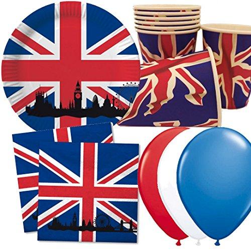 DH-Konzept 40Piezas Juego de Platos de Papel + Servilletas + Vasos & Union Jack Reino Unido/decoración/Vasos de Papel Plato Party desechable UK GB Inglaterra Londres Big Ben