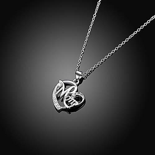 Día de la madre regalo, Deesos Collar El mejor regalo para el cumpleaños de la madre Corazón Diamante, Collar colgante para el cumpleaños de mamá Plata