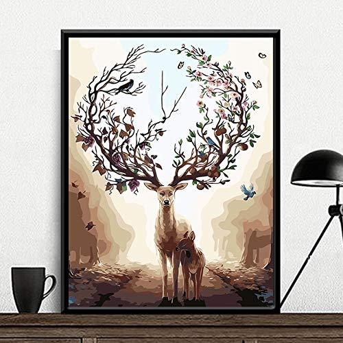 DIY Pintar por númerosBricolaje Artesanal, abstracción Animal de Ciervos e Hijo, Pintura Digital de Adultos y niños Pintura sin Marco Pintada a Mano 40X50CM