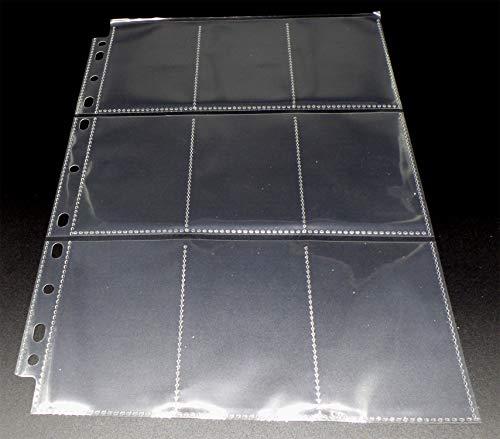 docsmagic.de 10 Premium 9-Pocket Pages - 11-Hole - 3-Ring Album- MTG - YGO - PKM - Juego de Fundas para Cartas para Jugar y coleccionar - Hojas de 9 Bolsillos
