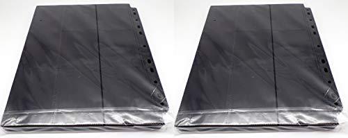 docsmagic.de 100 18-Pocket Pages Black - Sideloading - MTG PKM YGO - 11-Hole - Pagina Negra