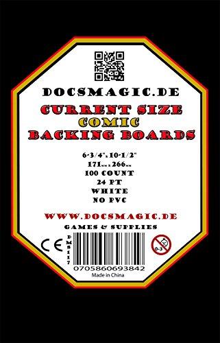 "docsmagic.de 100 Current Size Comic Book Backing Boards 6-3/4"" x 10-1/2"" 24pt White - Tapas Traseras - Blanco"