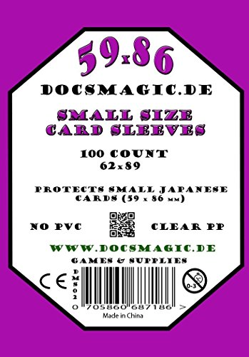 docsmagic.de 1.000 Small Size Card Sleeves Clear - 10 Packs - 59 x 86 Standard - 62 x 89 - Klar - Yu-Gi-Oh!