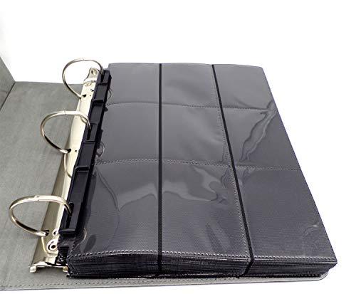 docsmagic.de 3-Ring Premium Album Black + 50 18-Pocket Sideloading Pages - Álbum para Tarjetas + Pagina - Negra - PKM - YGO - MTG