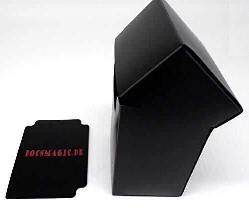 docsmagic.de 4 x Deck Box Full Black + Card Divider - Caja Negra - PKM YGO MTG