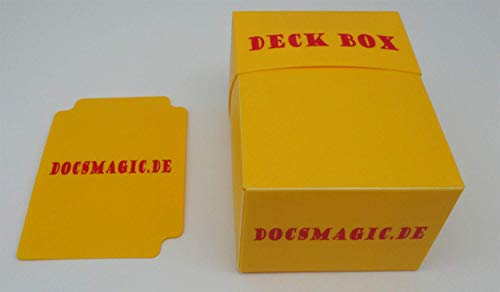 docsmagic.de 4 x Deck Box Yellow + Card Divider - Caja Amarillo - PKM - YGO - MTG