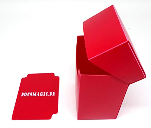 docsmagic.de 8 x Deck Box Full Red + Card Divider - Caja Roja - PKM YGO MTG