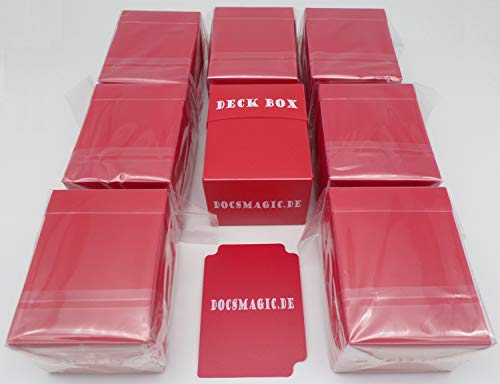 docsmagic.de 8 x Deck Box Red + Card Divider - Caja Roja - PKM - YGO - MTG