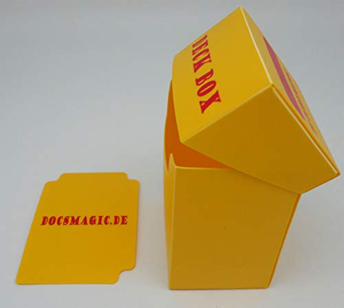 docsmagic.de Deck Box + 100 Double Mat Yellow Sleeves Standard - Caja & Fundas Amarillo - PKM - MTG