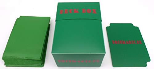 docsmagic.de Deck Box + 60 Double Mat Green Sleeves Small Size - Mini Caja & Fundas Verde - YGO
