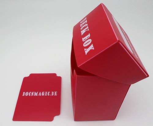 docsmagic.de Deck Box + 60 Mat Red Sleeves Small Size - Mini Caja & Fundas Roja - YGO