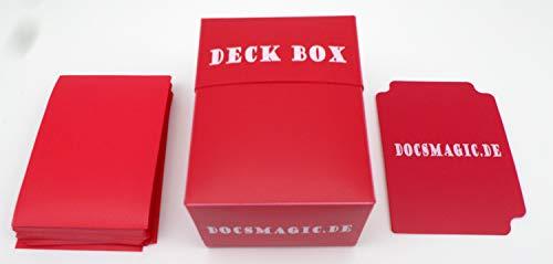 docsmagic.de Deck Box + 60 Mat Red Sleeves Small Size - Mini Caja & Fundas Roja - YGO