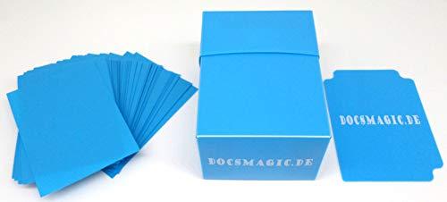 docsmagic.de Deck Box Full + 60 Double Mat Light Blue Sleeves Small Size - Caja & Fundas Azul Claro - YGO