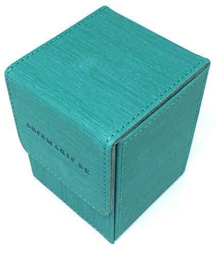 docsmagic.de Premium Magnetic Flip Box (100) Mint + Deck Divider - MTG - PKM - YGO - Caja Aqua