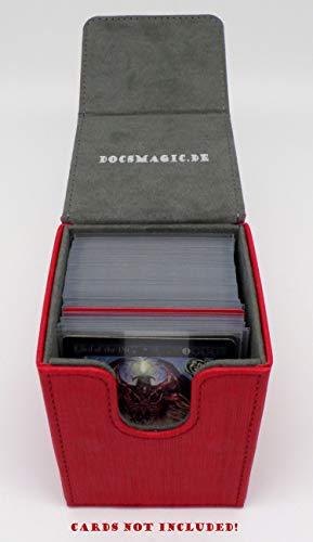 docsmagic.de Premium Magnetic Flip Box (100) Red + Deck Divider - MTG PKM YGO - Caja Roja