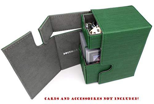 docsmagic.de Premium Magnetic Tray Box (100) Green + Deck Divider - MTG - PKM - YGO - Caja Verde