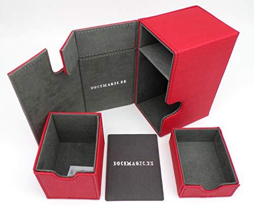 docsmagic.de Premium Magnetic Tray Box (100) Red + Deck Divider - MTG - PKM - YGO - Caja Roja