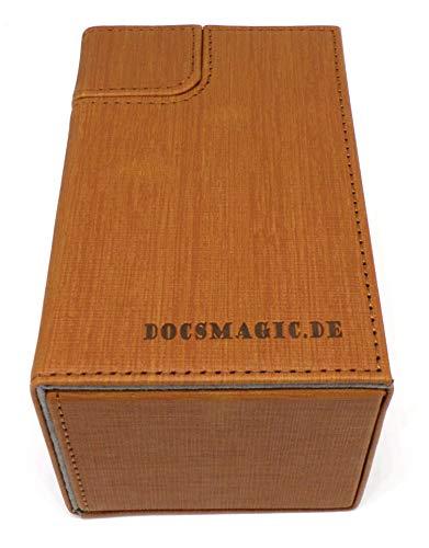 docsmagic.de Premium Magnetic Tray Box (80) Gold + Deck Divider - MTG - PKM - YGO - Caja Oro