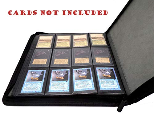 docsmagic.de Premium Pro-Player 12-Pocket Playset Zip-Album Black - 480 Card Binder - MTG - PKM - YGO - Cremallera Negra