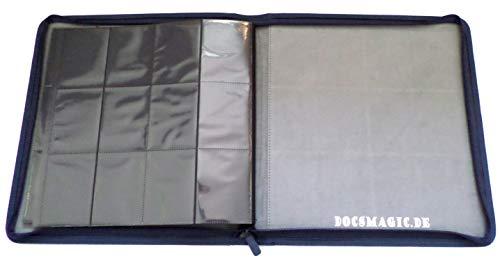 docsmagic.de Premium Pro-Player 12-Pocket Playset Zip-Album Dark Blue - 480 Card Binder - MTG - PKM - YGO - Cremallera Azul Oscuro