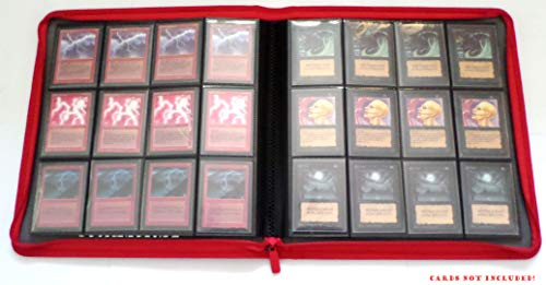 docsmagic.de Premium Pro-Player 12-Pocket Playset Zip-Album Red - 480 Card Binder - MTG - PKM - YGO - Cremallera Roja