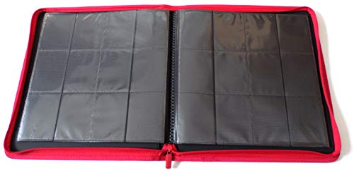 docsmagic.de Pro-Player 12-Pocket Playset Zip-Album Red - 480 Card Binder - MTG - PKM - YGO - Cremallera Roja