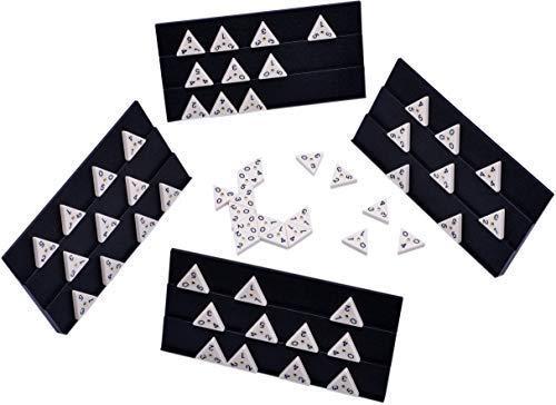 Dominó clásico de triángulo - Dominó pesado de tamaño completo Dominó con juego de bastidor COMPLETO - Bolsa de almacenamiento de calidad - Dominó triángulo Azulejos para jugadores de todas las edades