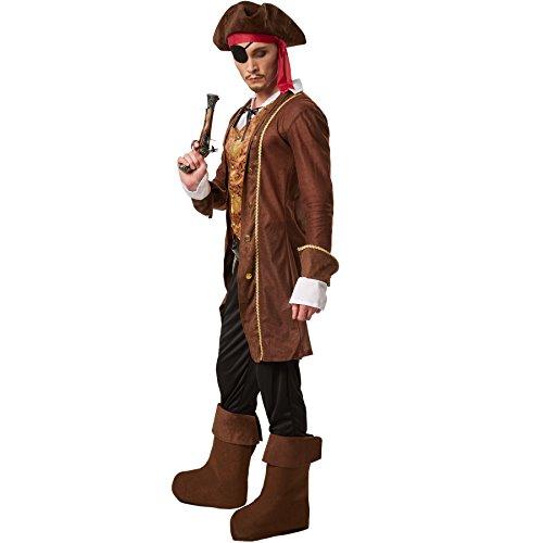 dressforfun Disfraz para hombre rey de los piratas | Abrigo con un chaleco y una camisa cosidas | Pantalón largo con cintura de goma | Incl. gorro, parche, cinturón y botines (XXL | No. 301788)