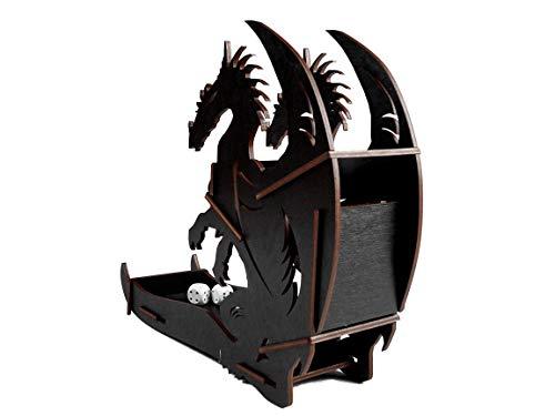 E-Raptor era19037Dados Torre dragón Juego de Tablero, Negro, Grande
