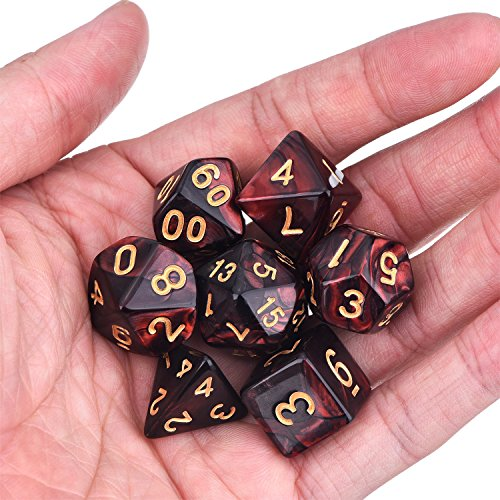 eBoot Dados Poliédricos Set de 7-Dados para Dungeons y Dragons con Bolsa Negra (Negro Rojo)