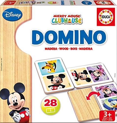Educa Mickey y Minnie Domino de Madera, 28 Piezas, a Partir de 3 años (16037)