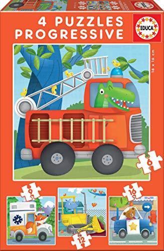 Educa - Puzzles Progresivos, puzzle infantil Patrulla de Rescate de 6,9,12 y 16 piezas, a partir de 3 años (17144)