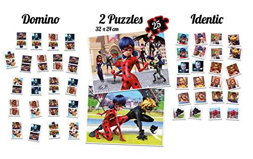 Educa - Superpack Miraculous Ladybug: Domino, Identic y 2 puzzles, juego de mesa para niños, a partir de 3 años (17259)