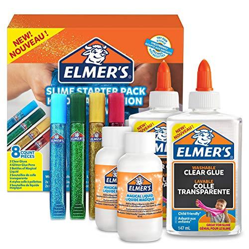 Elmer's Kit Iniciación Slime con pegamento transparente, barras con purpurina y solución activadora líquido mágico , 8unidades