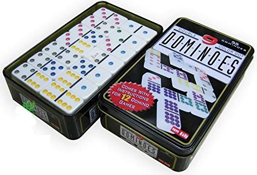 EMCEURO Juego de Domino Doble 9 de Colores 55 fichas + Caja Metal Dominoes