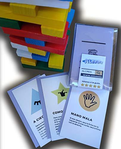 Encambio Alcrea EXPANSIÓN de Cartas para Torre de Bloques de Madera (Jenga™). Cartas con RETOS, Pruebas, COMODINES y Mucha diversión para el Popular Juego de Mesa. Torre DE Madera NO INCLUIDA